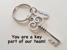 """employee appreciation ideas Employee Appreciation Gifts """"Thank You"""" Tag & Silver Key Keychain by JewelryEveryday w/ """" You are a key part of our team!"""" Card A key charm keyc Volunteer Appreciation Gifts, Volunteer Gifts, Dessert Party, Thank You Tags, Thank You Gifts, Gifts For Family, Gifts For Him, Best Gifts For Coworkers, Craft Gifts"""