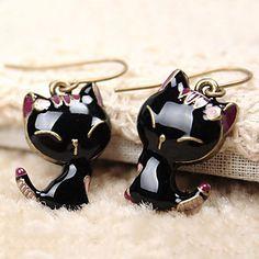 Black cat earrings – USD $ 0.99