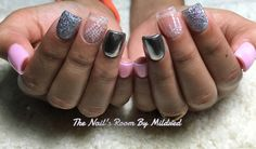Lovely pink nails, with hand painted nail art using @vetro_usa @vetro_international gel pods & @aoranails chome #thenailsroom #uñas #uñasacrilicas #uñasdecoradas #acrylic #acrylicnails #handpaintednailart #pinknails #squarenails #shortnails #vetro #gel #chromenails #sparkly #glitter #pretty #nailpro #nailprodigy #nailsmagazine #nailsoftheday #instanails
