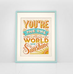 You Fill My World With Sunshine - Cross Stitch Pattern (Digital Format - PDF)