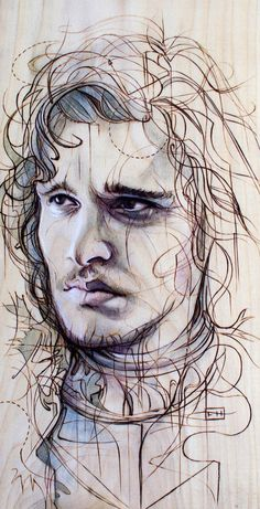 Jon Snow--by Fay Helfner. I didn't know whether to put this Game of Thrones drawing here, or in famous faces.