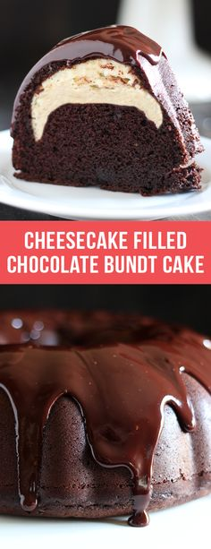 Who could beat this Cheesecake Filled Chocolate Bundt Cake with its rich yet tender chocolate cake, surprise cheesecake filling, and thick fudgy glaze? YUM. #cheesecake #chocolate #bundtcake #cake #dessert #recipe #food #dessertrecipes