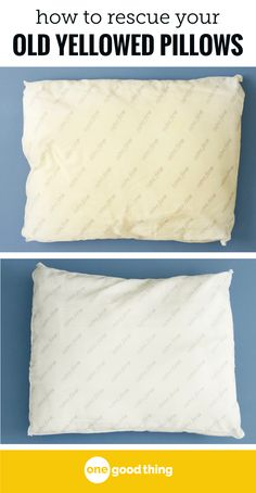 If you have older pillows that have seen better days, you won't want to miss this! Learn the simple process for washing and whitening those yellow pillows. Deep Cleaning Tips, House Cleaning Tips, Diy Cleaning Products, Cleaning Solutions, Spring Cleaning, Cleaning Hacks, Cleaning Lists, Cleaning Schedules, Speed Cleaning