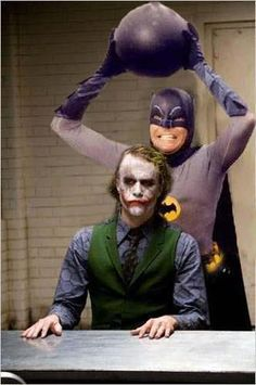 Adam West's Batman meets Heath Ledger's Joker. Somehow I think this Batman would win! Joker Batman, Batman 1966, Batman Comics, Superman, Batman Humor, Gotham Comics, Batman Robin, Adam West Batman, Harley Quinn