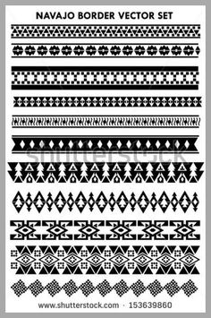 Navajo border vector set  black  and white