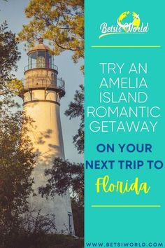 This contains: An image of Amelia Island on the left. On the right is a Teal background with Betsi's world logo on top. below the logo is text 'Try an Amelia Island Romantic Getaway on Your Next Trip to Florida' in White, Blue and Yellow font. At the bottom is www.betsiworld.com in Blue font. . . . // romantic trip // romantic vacations // romantic travel destinations // romantic vacation ideas // getaway for couples // romantic vacation couples // romantic destinations // romantic places // fl Romantic Beach Getaways, Romantic Destinations, Romantic Vacations, Romantic Places, Romantic Travel, Travel Destinations, Travel Tips, Florida Vacation, Florida Travel