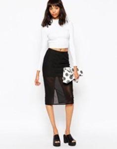 monki pencil skirt  black #skirt #officeday #classic #monki #narrow #covetme