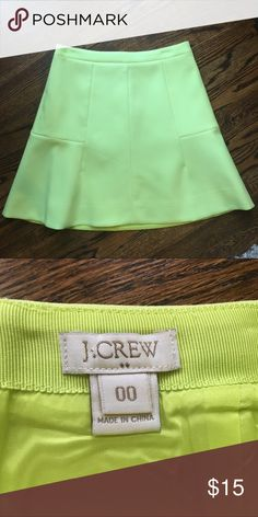 EUC citron colored J.Crew Factory 00 skirt This skirt is awesome!  It's a lovely bright citron color a line skirt with back zipper. Fully lined. Looks great dressed up or down. J. Crew Skirts