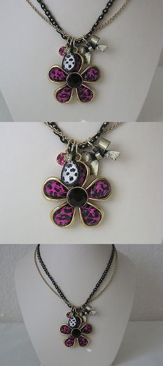 Other Fashion Jewelry 499: Betsey Johnson 2-Row Pink Leopard Daisy Necklace -> BUY IT NOW ONLY: $32.99 on eBay!
