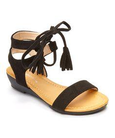 c6bda966d Loving this Black Tie-Strap Sandal on  zulily!  zulilyfinds Moda De Niños