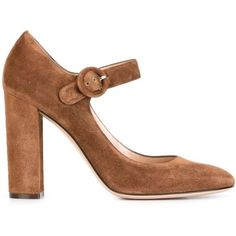 Gianvito Rossi 'Lorraine' Mary Jane pumps (1,004 CAD) ❤ liked on Polyvore featuring shoes, pumps, brown, brown pumps, brown suede pumps, round toe mary jane pumps, chunky high heel pumps and mary jane shoes