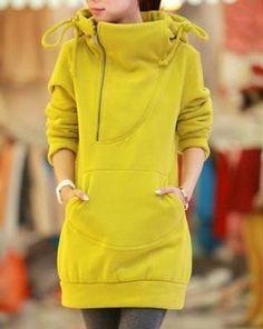 Stylish Hooded Long Sleeve Zippered Solid Color Women's HoodieSweatshirts & Hoodies | RoseGal.com