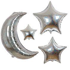 Mond und Sterne Ballon Set holographisch von Meri Meri. Holographisch schimmernde Folienballons. 6 Stück.