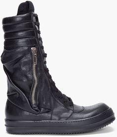 Rick Owens Black Cargo Basket Boots in Black for Men