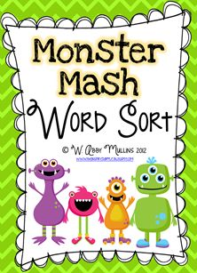 Freebie Monster Mash Word Sort at The Inspired Apple :)