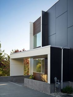 Home Design Exterior Among White Also Grey Tiled Wall Combined With Wooden Horizontal Wall Siding Minimalist Home Having Open Access to Outdoor