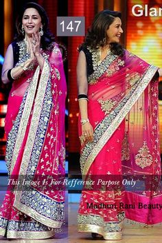 Madhuri Dixit Pink Net Latest Bollywood Saree
