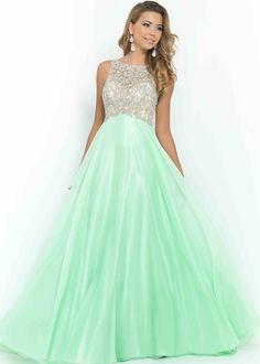 Light Green A Line Long Open Back Beaded High Neck Prom Dress