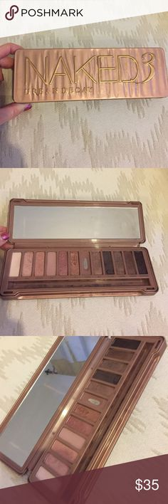 "Naked 3 urban decay Slightly used. No brush included. See photos. Perfect for someone who wants to try the colors out. Please note the factory color has a crack in it and ""nooner"" has been well used. Besides that the rest are almost like new Urban Decay Makeup"