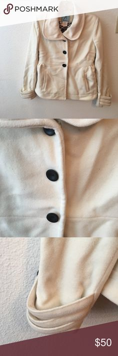 Marciano pea coat Cream Marciano pea coat . Three button down. Two front pocket detail. Leopard silk lining. Guess by Marciano Jackets & Coats Pea Coats