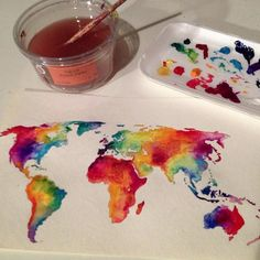 Water color map, would be a cool tattoo, also it would be cool if it were a temperture map of the world First Photo On Instagram, World Tattoo, Earth Tattoo, Watercolour World Map, World Map Painting, Watercolour Art, Watercolor Tattoos, Painting & Drawing, Art Projects