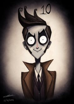 The Doctor Who Doctors As Tim Burton Animation Characters.All The Doctor Who Doctors As Tim Burton Animation Characters. Tim Burton Art Style, Tim Burton Stil, Tim Burton Kunst, Film Tim Burton, David Burton, Doctor Who, 10th Doctor, Anime Chibi, Manga Anime
