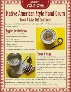 An easy and fun Native American style hand drum craft with beater suggestions, animal symbolism info, rhythm suggestions and even creative writing ideas! Native American Music, Native American Symbols, Native American Design, Native American Fashion, American Indians, Drums For Kids, Drum Lessons For Kids, Music For Kids, Viking Symbols