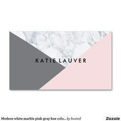Modern white marble pink gray hue color block chic Double-Sided standard business cards (Pack of 100)