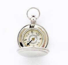 A beautiful antique 1910s French locket compass pendant, one of the smallest of all spring hunter type pocket compasses to date, in perfect working condition, points North easily. This very tiny compass is in mint condition, cover snaps tight and can be engraved if prefered.New old stock and never sold before! This antique pocket compass would make a nice gift for someone special or a collector.Cardinals: EnglishColor: silverMaterial: nickel plated metalMeasures: 27 mm...