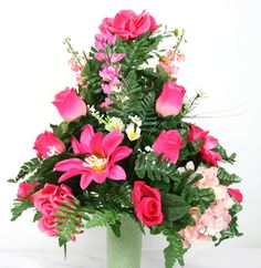Mother's  Day Cemetery Vase Flower Arrangement Featuring Pink Roses and Dasies by Crazyboutdeco on Etsy