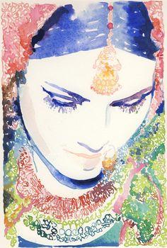Watercolor Fashion Illustration - Indian Bride