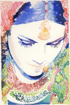 Watercolor Fashion Illustration - Indian Bride