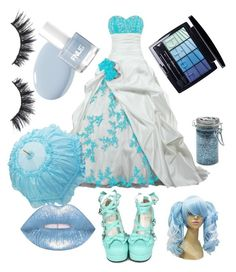 """Blue Lolita bride"" by imortalsnail on Polyvore featuring Christian Dior, Violet Voss and Major Moonshine"