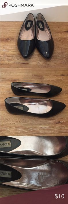 Black Steve Madden Flats Black flats with a pointed toe. Worn rarely, the insides and soles show some wear. Steve Madden Shoes Flats & Loafers