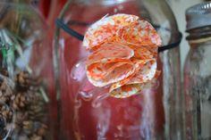 Sherbet Orange Fabric Flower on Skinny by AmberlinaDesignShop