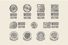 Set of wood rings texture logo by AliceNoir on Creative Market