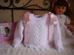 LAS CHAQUETITAS DE ITXASO: Chaquetitas de angora y perlé Crochet Baby, Knit Crochet, Baby Knitting Patterns, Baby Dress, Ruffle Blouse, Sweaters, Clothes, Dresses, Kids