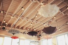 Umbrellas turned upside down add a little whimsy.