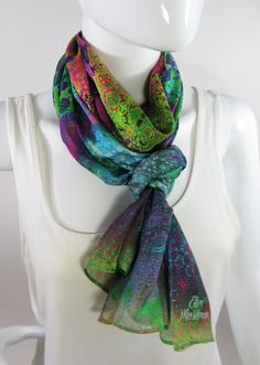 Ways To Wear A Scarf, How To Wear Scarves, Chiffon Scarf, Silk Chiffon, Spring Scarves, Unique Gifts For Women, Long Scarf, Fractal Patterns, Womens Scarves