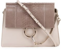 Chloe Faye Medium Python/Leather Shoulder Bag, Off White