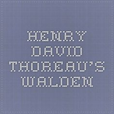 henry david thoreau's walden