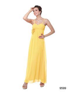 Ever Pretty Spaghetti Straps Ruffles Chiffon Flower Wedding Dress Yellow, Wedding Dresses With Flowers, Chiffon Flowers, Chiffon Ruffle, Chiffon Dress, Ruffles, Yellow Bridesmaid Dresses, Prom Dresses, Bridesmaids, Ever Pretty