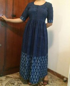 Ankle length indigo khadi dress from The Indian Ethnic co.
