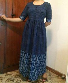 Ankle length indigo khadi dress from The Indian Ethnic co.