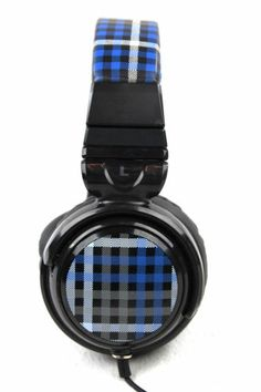 NWOB PB Teen Blue Plaid Headphones www.TheConsignmentBag.com We ship Worldwide to your door.  Follow and share with your friends...New items arrive daily!  Don't miss a day!