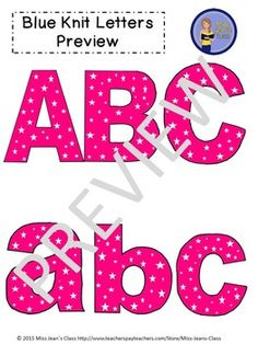 Clip Art Letters with Punctuation- Pink With White Stars Upper And Lowercase Letters, Lowercase A, Word Walls, Pink Stars, Punctuation, Bulletin Boards, Art Images, Lesson Plans, Worksheets