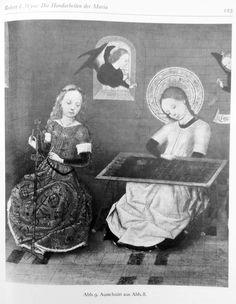 C. 1460 netting post! Wyss, Robert 1973: Die Handarbeiten set Maria, p123. Medieval Crafts, Medieval Art, 14th Century, Middle Ages, Sculpture Art, Knots, Craft Ideas, Paintings, Women