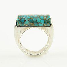 Blue Copper Turquoise - Fancy Cut - Sterling Silver Ring - keja jewelry