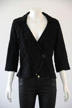 The Ark  Women s Black 3/4 Sleeve V-Neck Blouse / Jacket {Size M / 12}