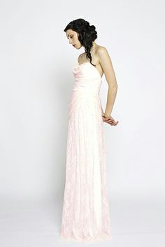 Claire La Faye Lovelace Pink Chantilly Lace Dress, $2100, available at Claire La Faye.